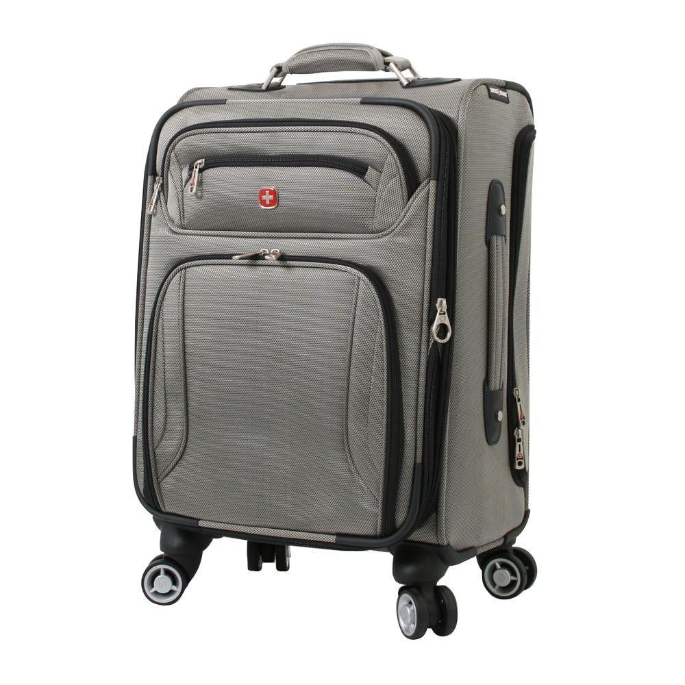 f59098f14 Wenger Zurich 20 in. Pewter Pilot Case Spinner Suitcase 7895434157 ...