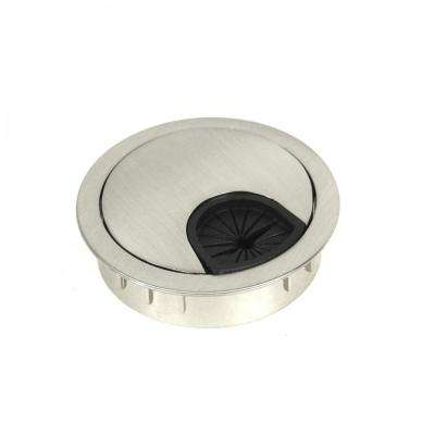 Kingsman Round Series 2-1/4 in. Dia Brushed Nickel Wire Cable Grommet with Cover (6-Pack)