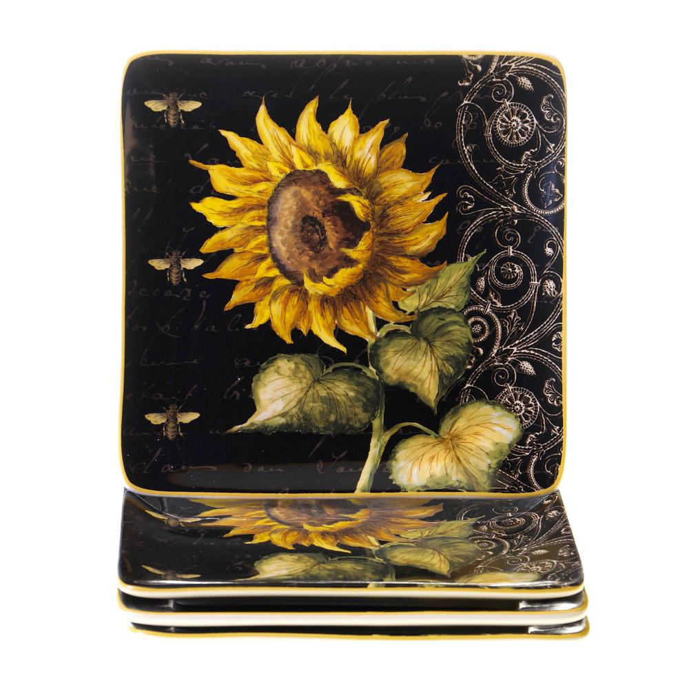 French Sunflowers 8.25 in. Square Salad and Dessert Plate (Set of