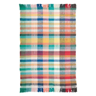 Multicolor 4 ft. x 6 ft. Plaid Dhurrie Area Rug with Fringe
