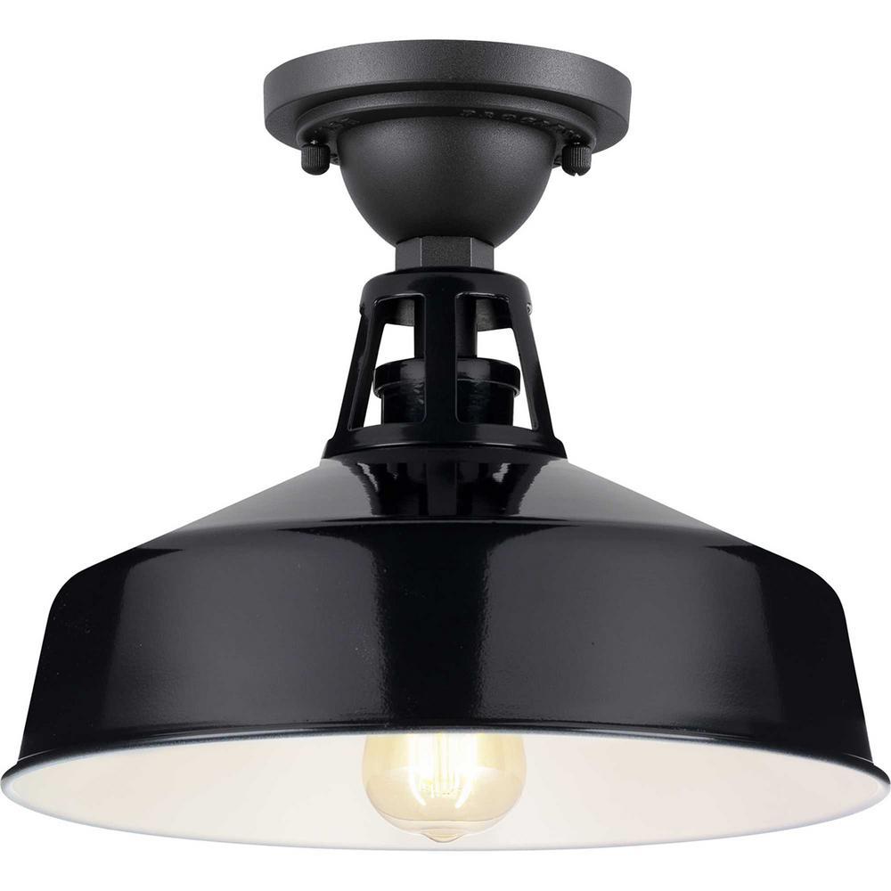 Perry Court 1-Light Gloss Black Outdoor Semi-Flush Mount