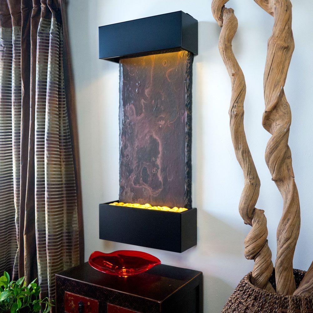 Medium Nojoqui Falls Lightweight Slate Wall Fountain in Black Onyx Trim
