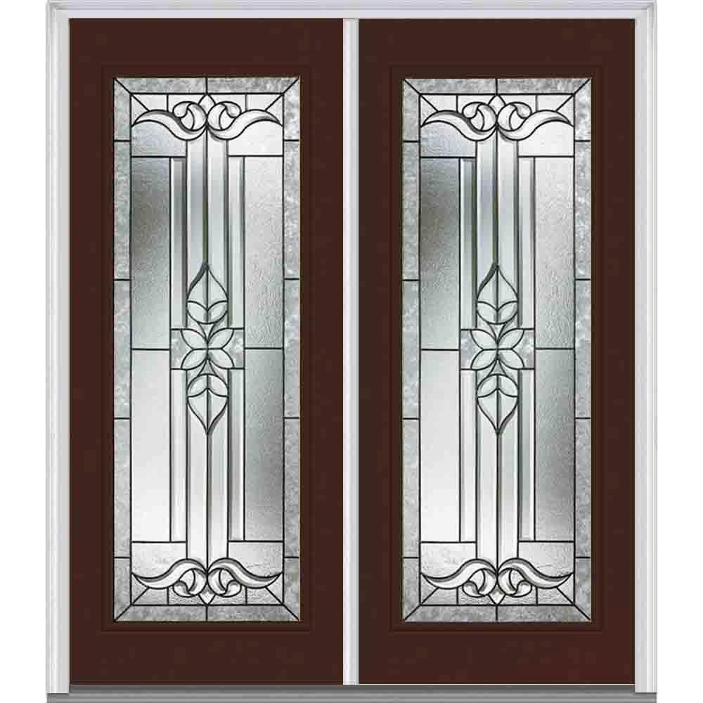 Milliken Millwork 66 in. x 81.75 in. Cadence Decorative Glass Full Lite Painted Majestic Steel Exterior Double Door
