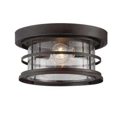 2-Light English Bronze Outdoor Hanging Ceiling Light
