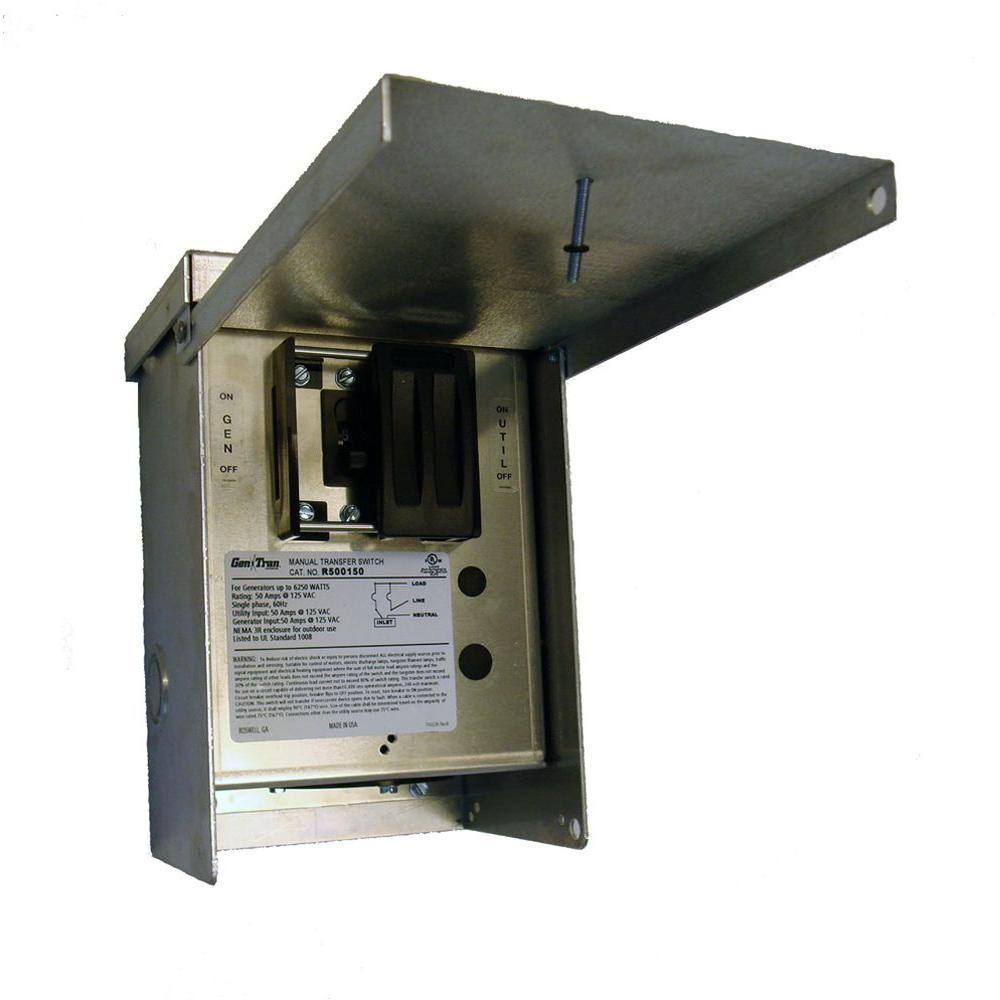 GenTran 50 Amp 125-Volt 6,250-Watt 1-Circuit Non-Fuse Transfer Switch-DISCONTINUED