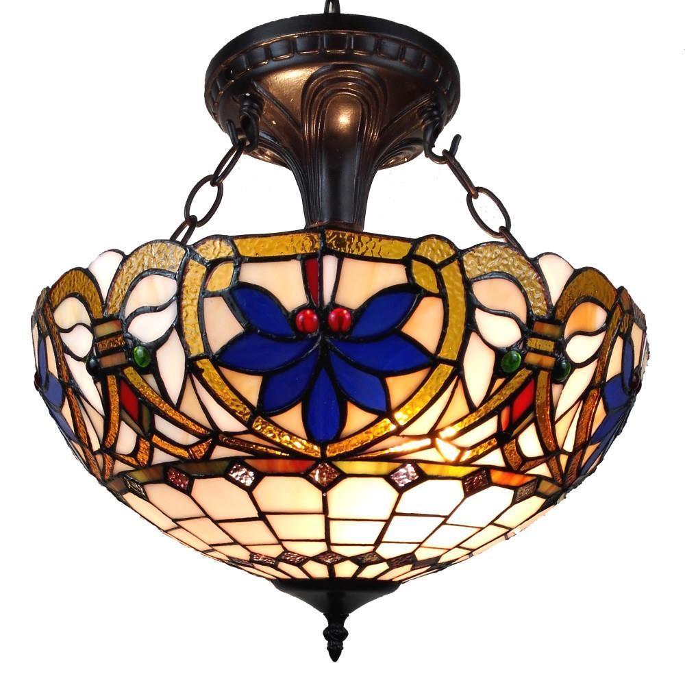 2-Light Tiffany Style Victorian Design Pendant