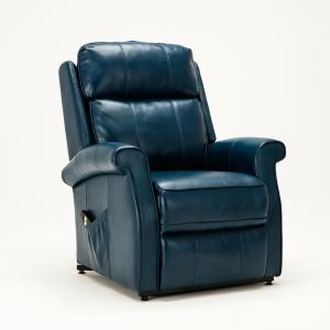 Lehman Navy Blue Semi Leather Traditional Lift Chair