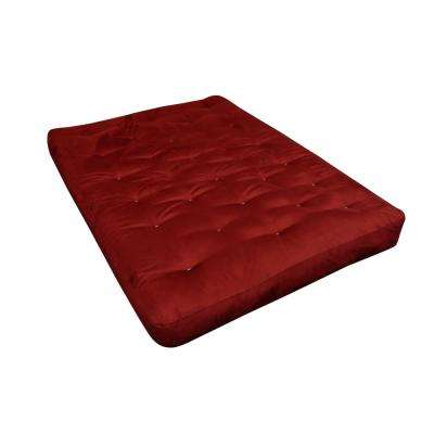 108 Full 10 in. EuroCoil Foam and Cotton Burgundy Microfiber Futon Mattress