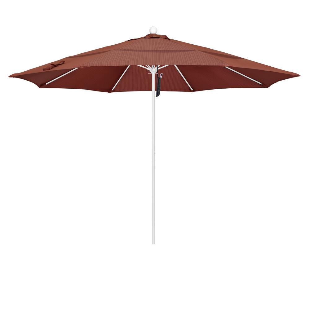 11 ft. Matted White Fiberglass Market Patio Umbrella PO DVent in Terrace Adobe Olefin