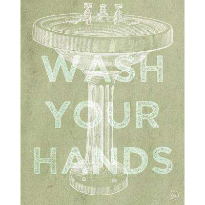 """16 in. x 20 in. """"Wash Your Hands Kappa"""" Planked Wood Wall Art Print"""