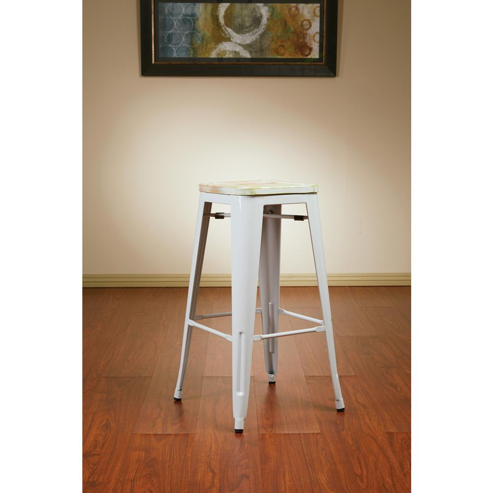 Antique Metal Barstool With Vintage Wood Seat In White Frame