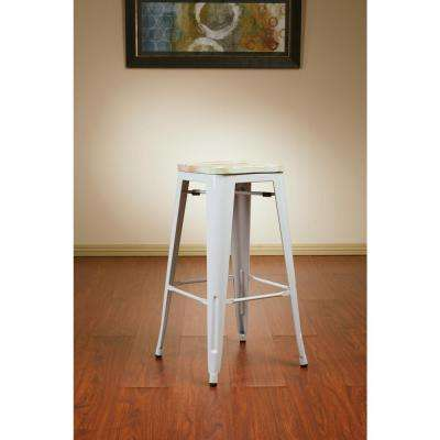Bristow 30 in. Antique Metal Barstool with Vintage Wood Seat in White Frame and Pine Irish Seat (2-Pack)