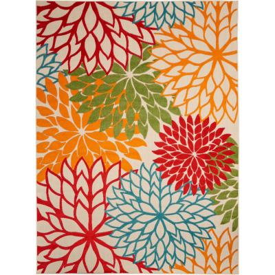 Aloha Green 8 ft. x 11 ft. Floral Modern Indoor/Outdoor Area Rug