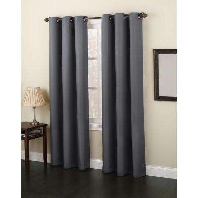 Semi-Opaque Charcoal No. 918 Casual Montego Woven Grommet Top Curtain Panel, 48 in. W x 63 in. L