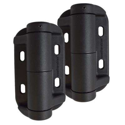 Black Nylon Polymer Self-Closing Adjustable Gate Hinges (2-Pack)