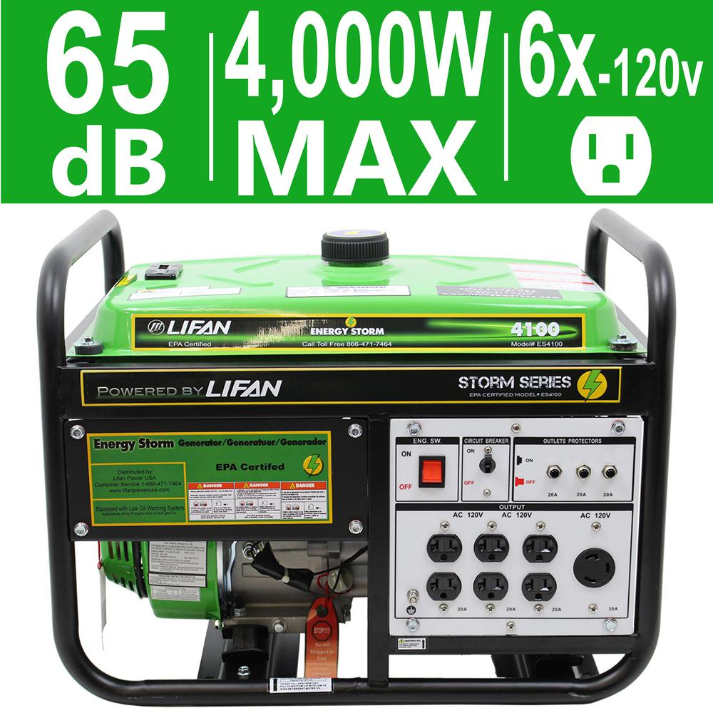 Energy Storm 4,000/3,500-Watt Gasoline Powered Portable Generator with Extra
