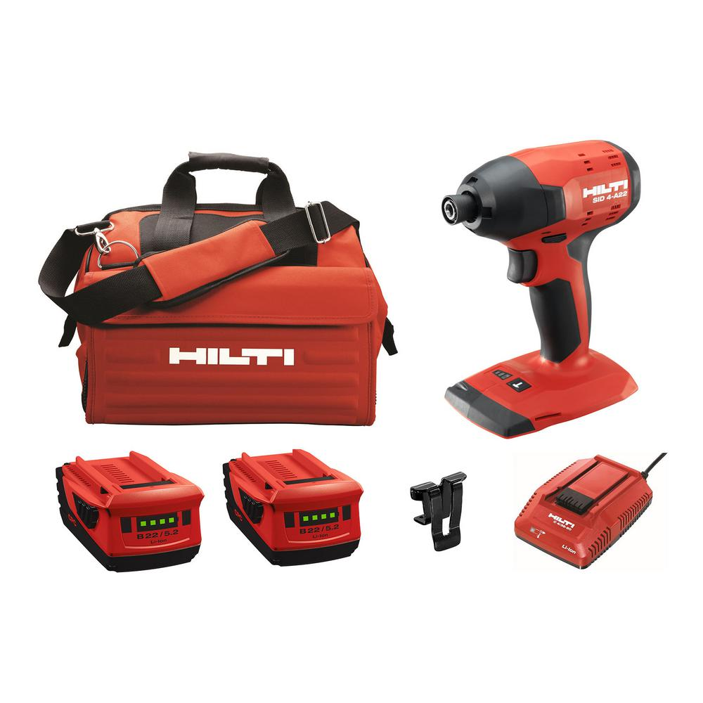 Hilti 22-Volt Lithium-Ion 1/4 in. Hex Brushless Cordless SID 4 Impact Driver Kit with (2) 22/5.2 Batteries, Charger and Bag