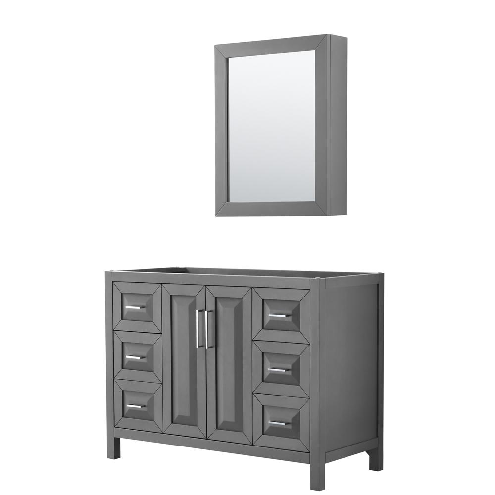 Wyndham Collection Daria 47 in. Single Bathroom Vanity Cabinet Only with Medicine Cabinet in Dark Gray