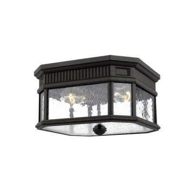 Cotswold Lane Black 2-Light Outdoor Flushmount