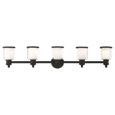 Middlebush 5.5 in. 5-Light Black Vanity Light with Clear Outer Glass and Frosted Inner Glass Shades