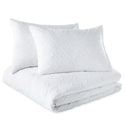Solid Ogee 3-Piece White Microsculpt King Duvet Set