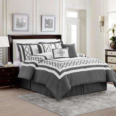 Bailey 7-Piece Gray and White King Comforter Set