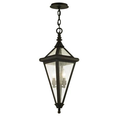 Geneva Vintage Bronze 2-Light 8.25 in. W Outdoor Hanging Light with Clear Seeded Glass