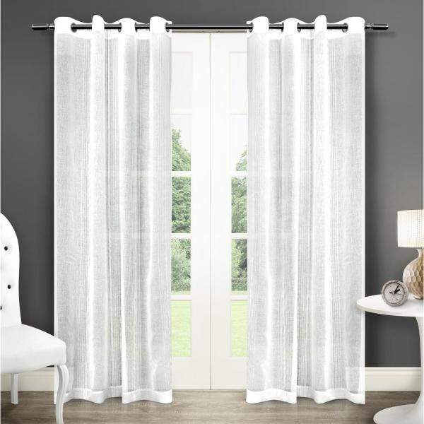 Sabrina 50 in. W x 108 in. L Sheer Grommet Top Curtain Panel in Winter White (2 Panels)