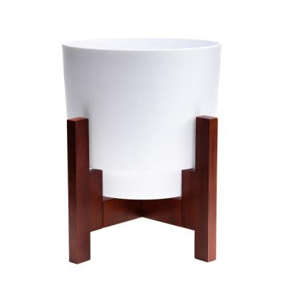 Hopson 12 in. Medium Casper White Plastic Planter with Wood Stand