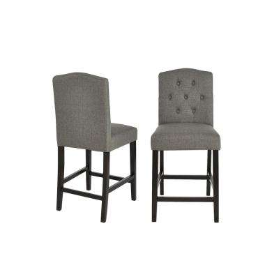 Beckridge Ebony Wood Upholstered Counter Stool with Back and Charcoal Seat (Set of 2) (18.11 in. W x 40 in. H)