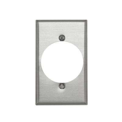 1-Gang Standard Size Power Outlet Aluminum Wall Plate with 2.15 in. Dia Hole in Aluminum