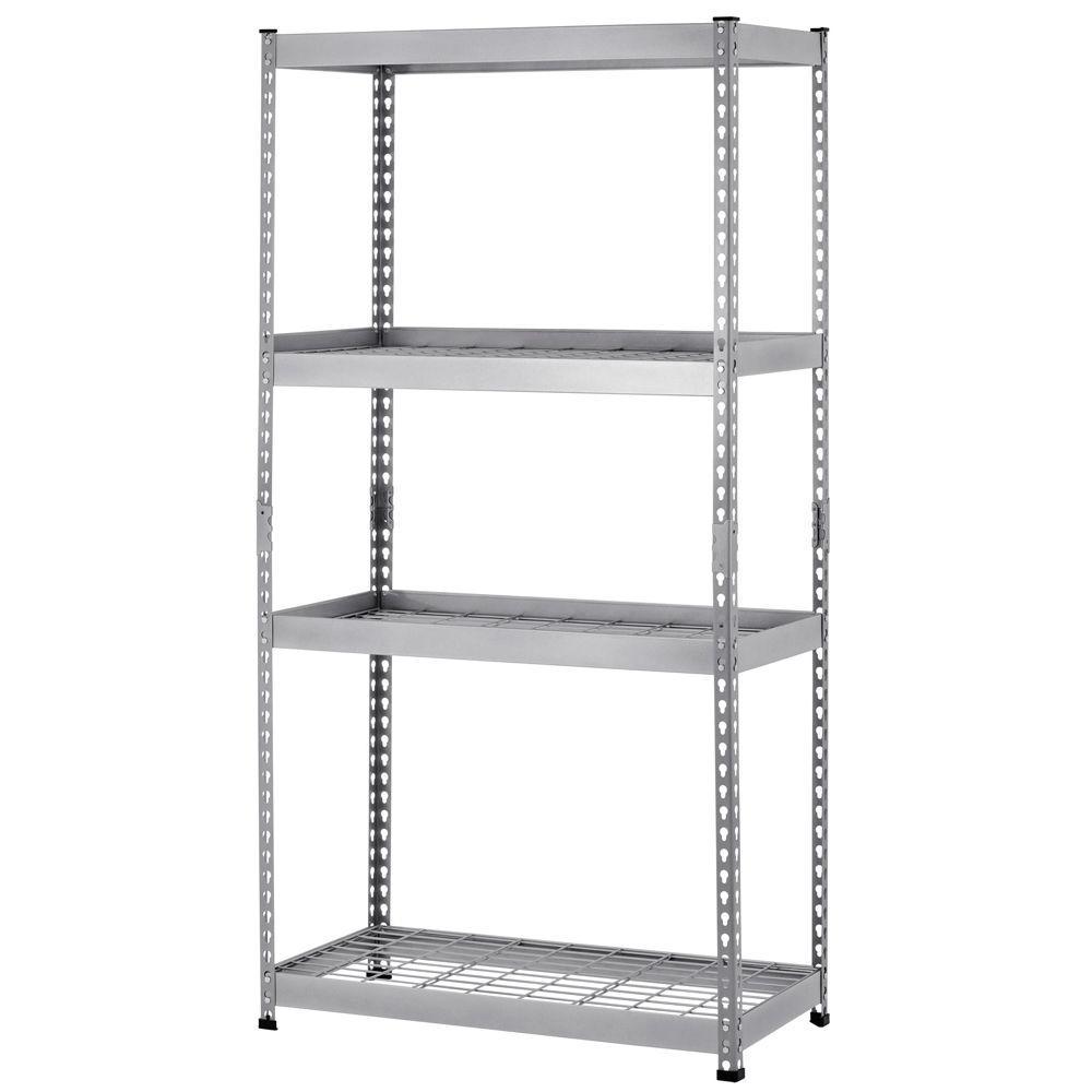 Silver 4-Tier Heavy Duty Steel Garage Storage Shelving Unit (36 in. W x 72 in. H x 18 in. D)