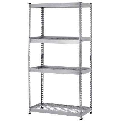 72 in. H x 36 in. W x 18 in. D 4 Shelf Steel Unit in Silver