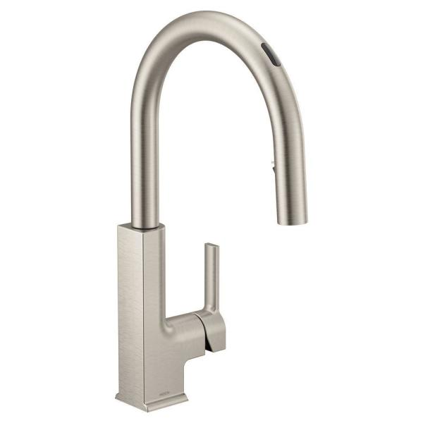 U by Moen STo Single-Handle Pull-Down Sprayer Smart Kitchen Faucet with Voice Control in Spot Resist Stainless