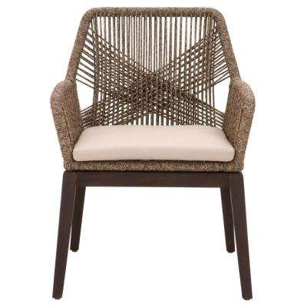 Loom Mocha Rope, Rustic Java Mahogany Dining Arm Chair (Set of 2)