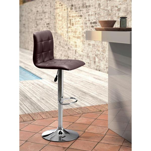 ZUO Oxygen Adjustable Height Espresso Cushioned Bar Stool