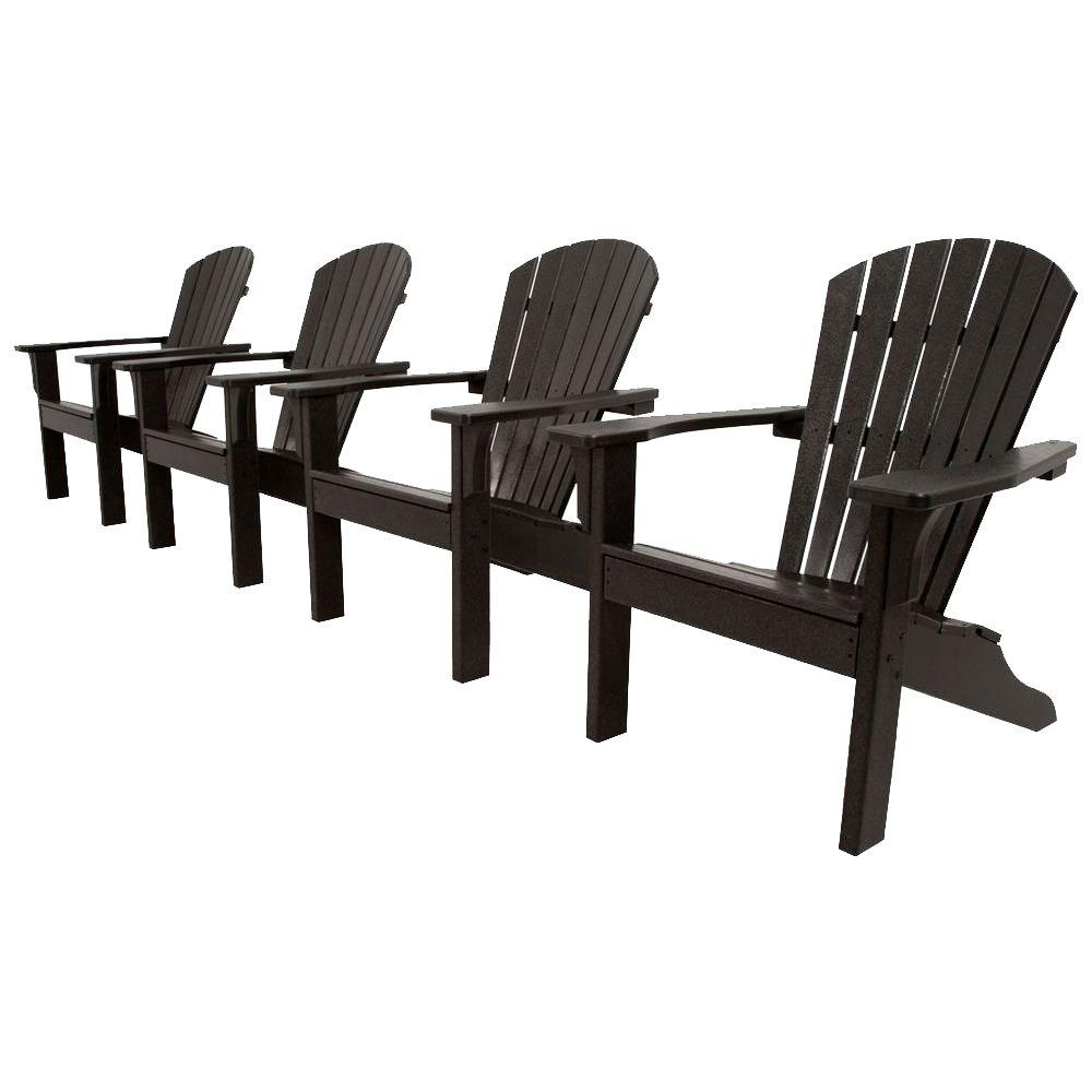Ivy Terrace Classics Black 4-Piece Shell Back Adirondack Patio Conversation Set