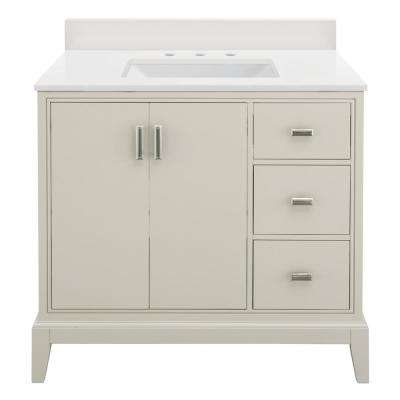Shaelyn 37 in. W x 22 in. D Vanity in Rainy Day RH with Engineered Marble Vanity Top in Winter White with White Sinks