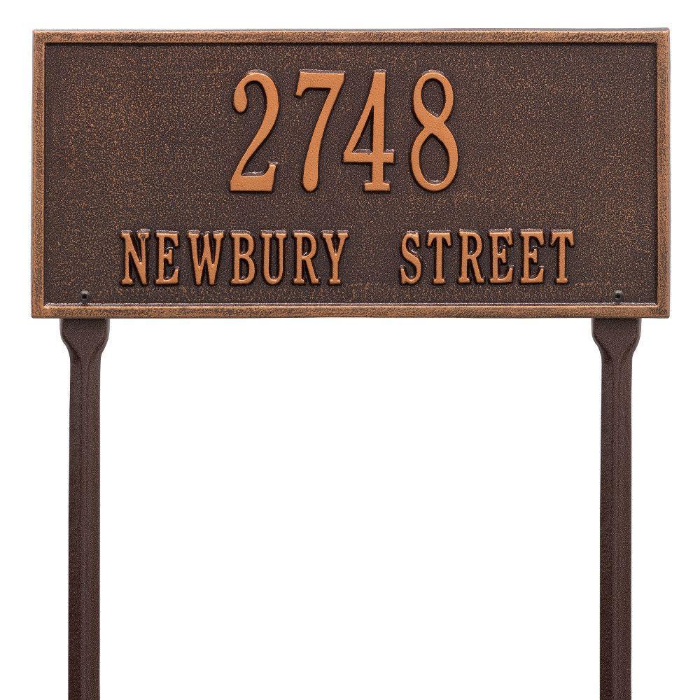 Hartford Rectangular Antique Copper Standard Lawn 2-Line Address Plaque