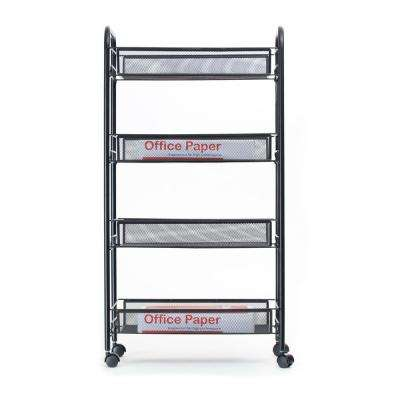 Roll' Rolling Metal Mesh 4-Shelf Coffee Cart in Black