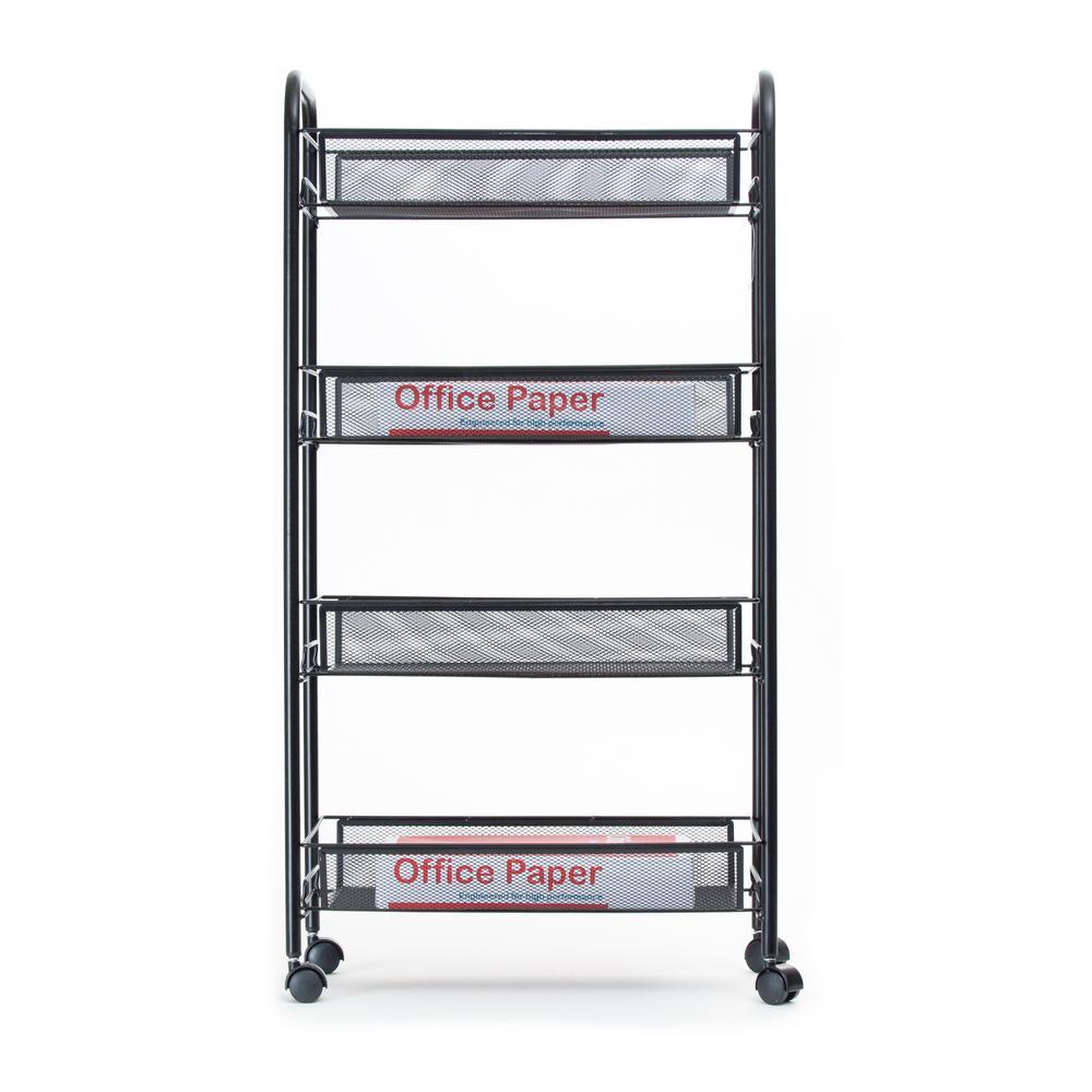 Mind Reader Roll' Rolling Metal Mesh 4-Shelf Coffee Cart in Black