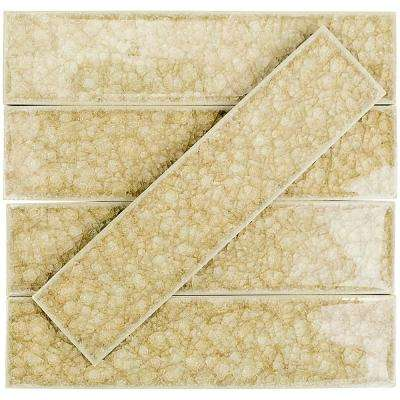 Roman Selection Raw Ginger 2 in. x 8 in. x 9 mm Polished Glass Mosaic Wall Tile (36 pieces 4 sq.ft./Box)