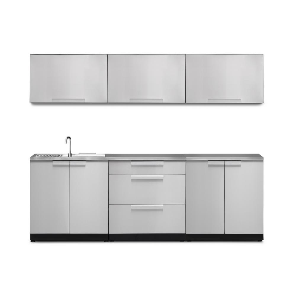 Newage Products Stainless Steel 7 Piece 96 In W X 36 5 In H X 24 In D Outdoor Kitchen Cabinet Set With Countertop And Covers 66049 The Home Depot