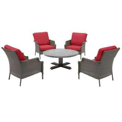 Grayson Ash Gray 5-Piece Wicker Outdoor Patio Conversation Seating Set with CushionGuard Chili Red Cushions