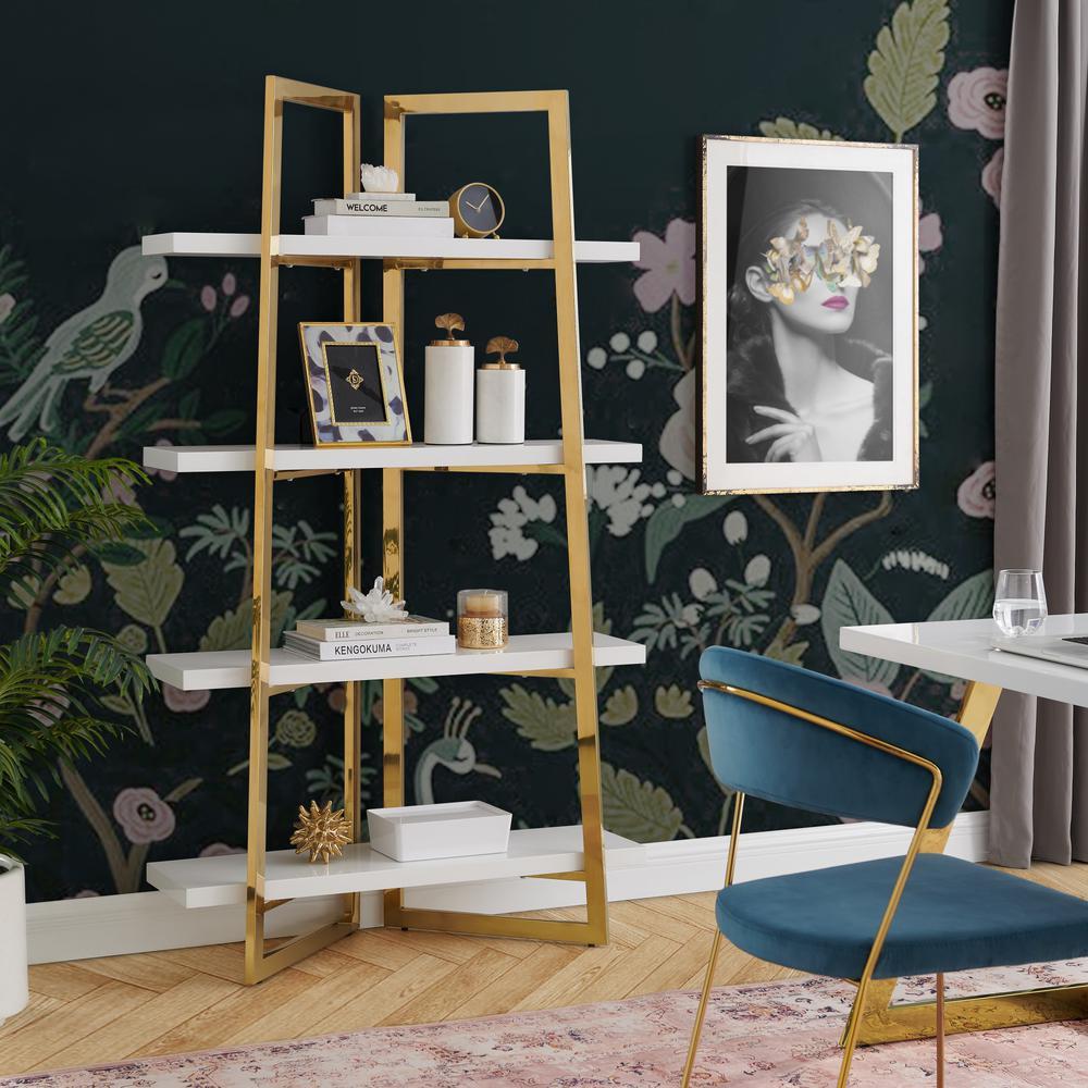 Oline White/Gold Bookshelf 4 Shelves