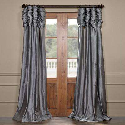 Platinum Gray Ruched Faux Solid Taffeta Light Filtering Curtain - 50 in. W x 84 in. L