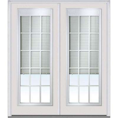 64 in. x 80 in. Internal Blinds and Grilles Left-Hand Full Lite Classic Painted Steel Prehung Front Door
