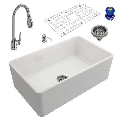Classico All-in-One Farmhouse Fireclay 30 in. Single Bowl Kitchen Sink with Belsena Polished Chrome Faucet and Soap Disp