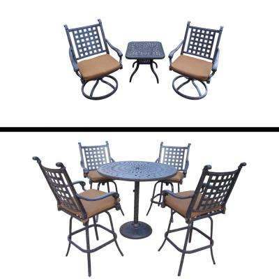 Belmont 8-Piece Aluminum Outdoor Bar Height Dining Set with Sunbrella Brown Cushions