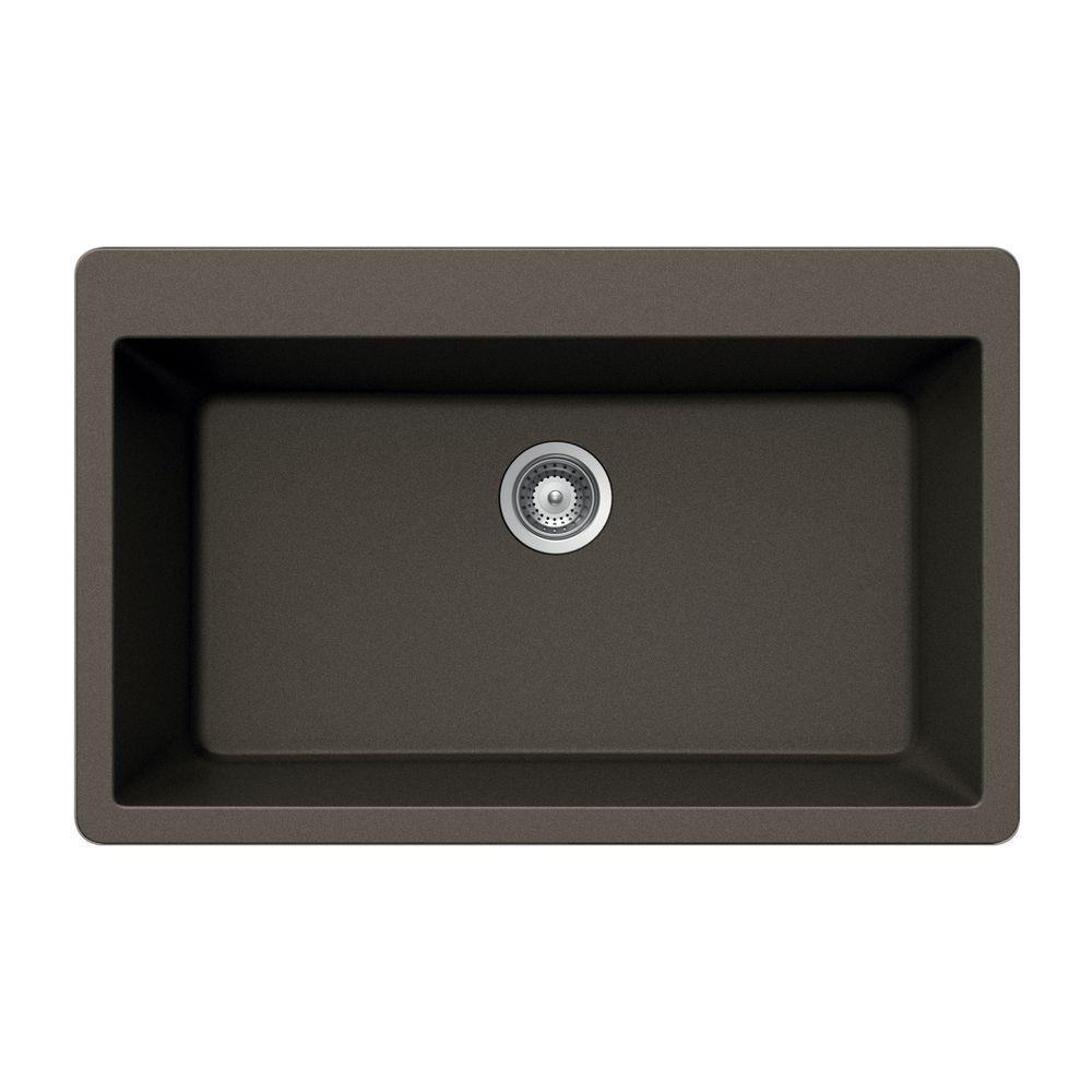 HOUZER Montano Series Drop-In Granite 33x20.875x9.5 0-hole Single Basin Kitchen Sink in Bronze